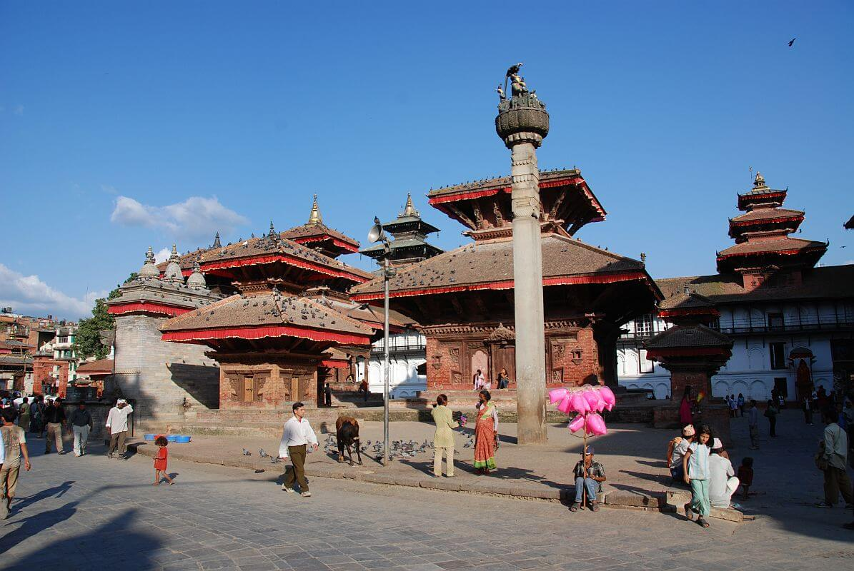 Kathmandu Durbar Square with Jagannath and King Malla Column