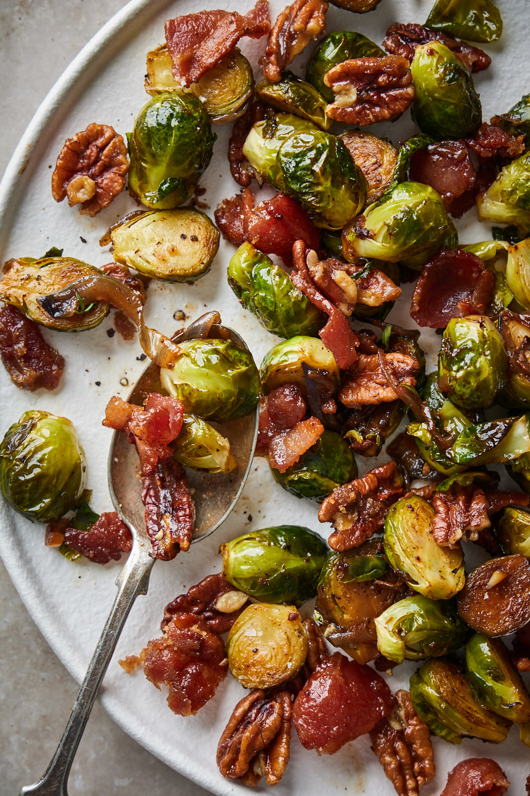 Roasted Brussel Sprouts With Candied Pecans and Bacon