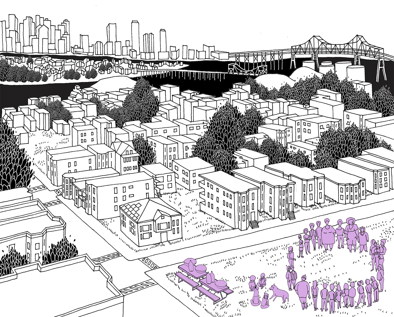 Line drawing showing a the landscape in East Boston, with the Chelsea river and downtown Boston in the background. In the foreground, a circle of people stand in a city park, near picnic tables with food.
