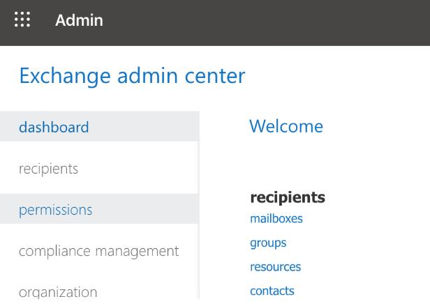 Exchange admin center permissions