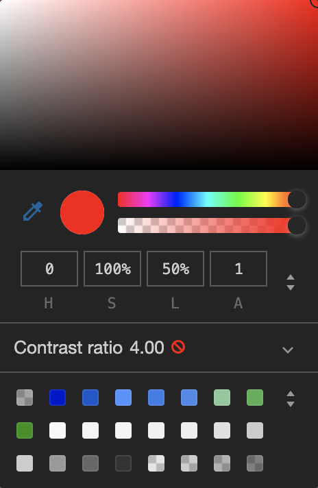 Screenshot of the color picker in the chrome dev tools