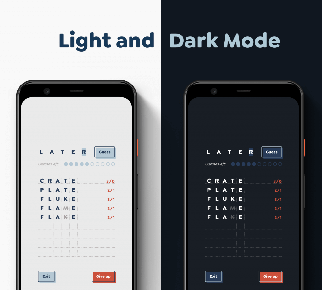 A demo of how light and dark mode look