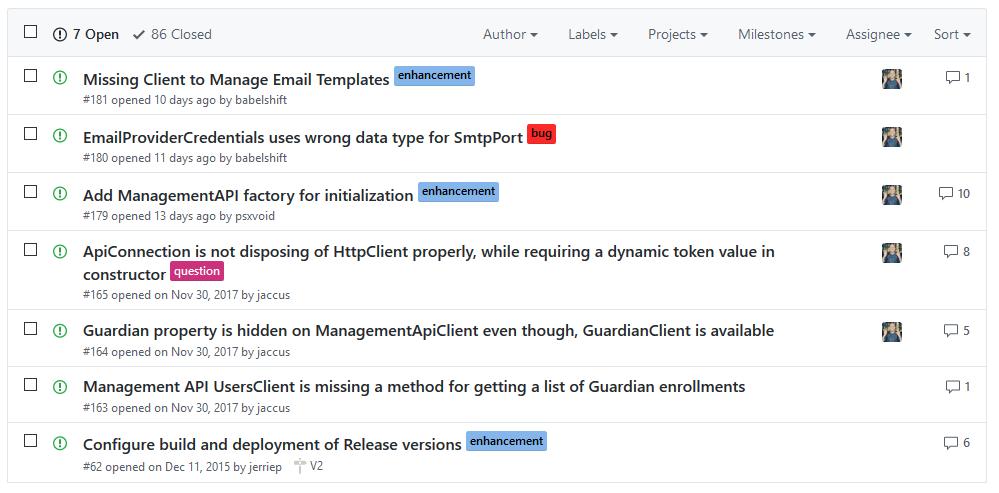 List of GitHub Issues