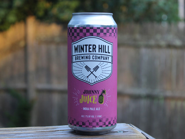 Johnny Juice, an IPA brewed by Winter Hill Brewing Company