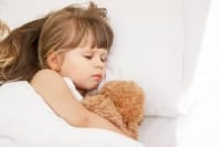 Girl sleeping in her bed with her teddy bear