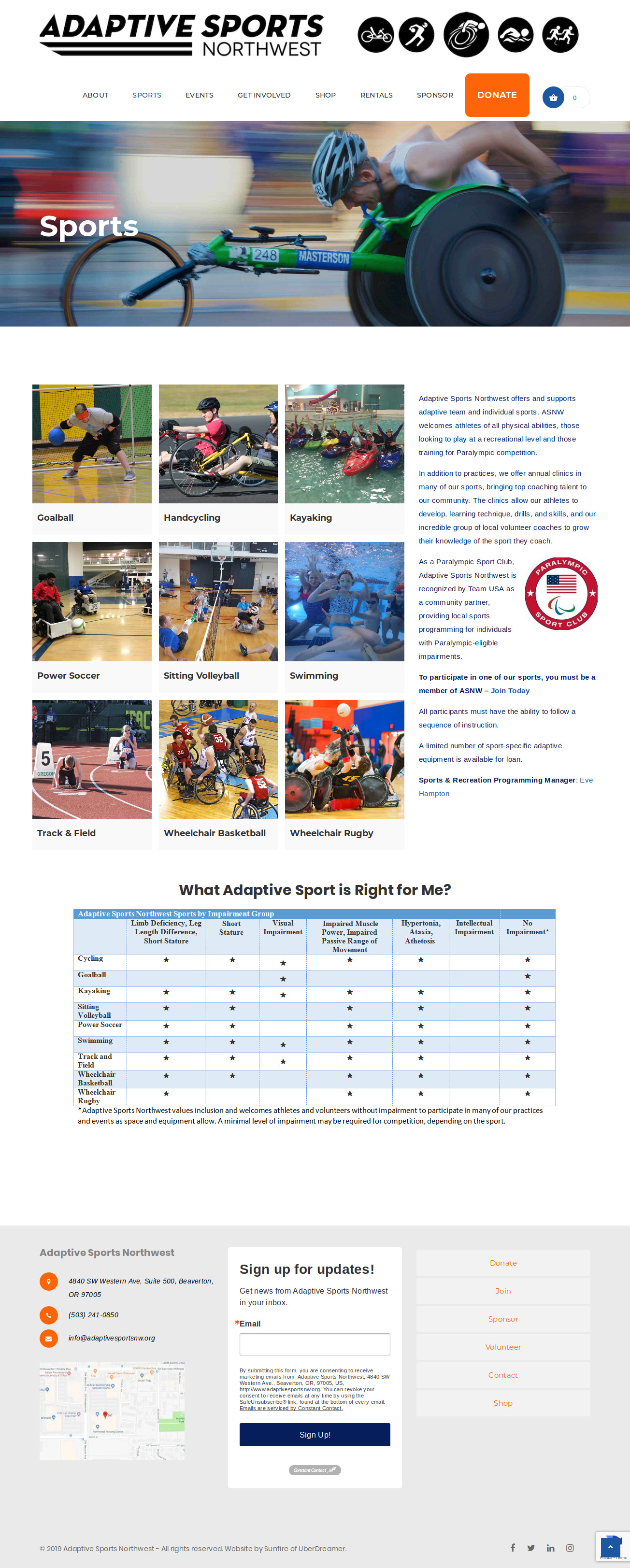 Full-length screenshot of Sports page of Adaptive Sports NW