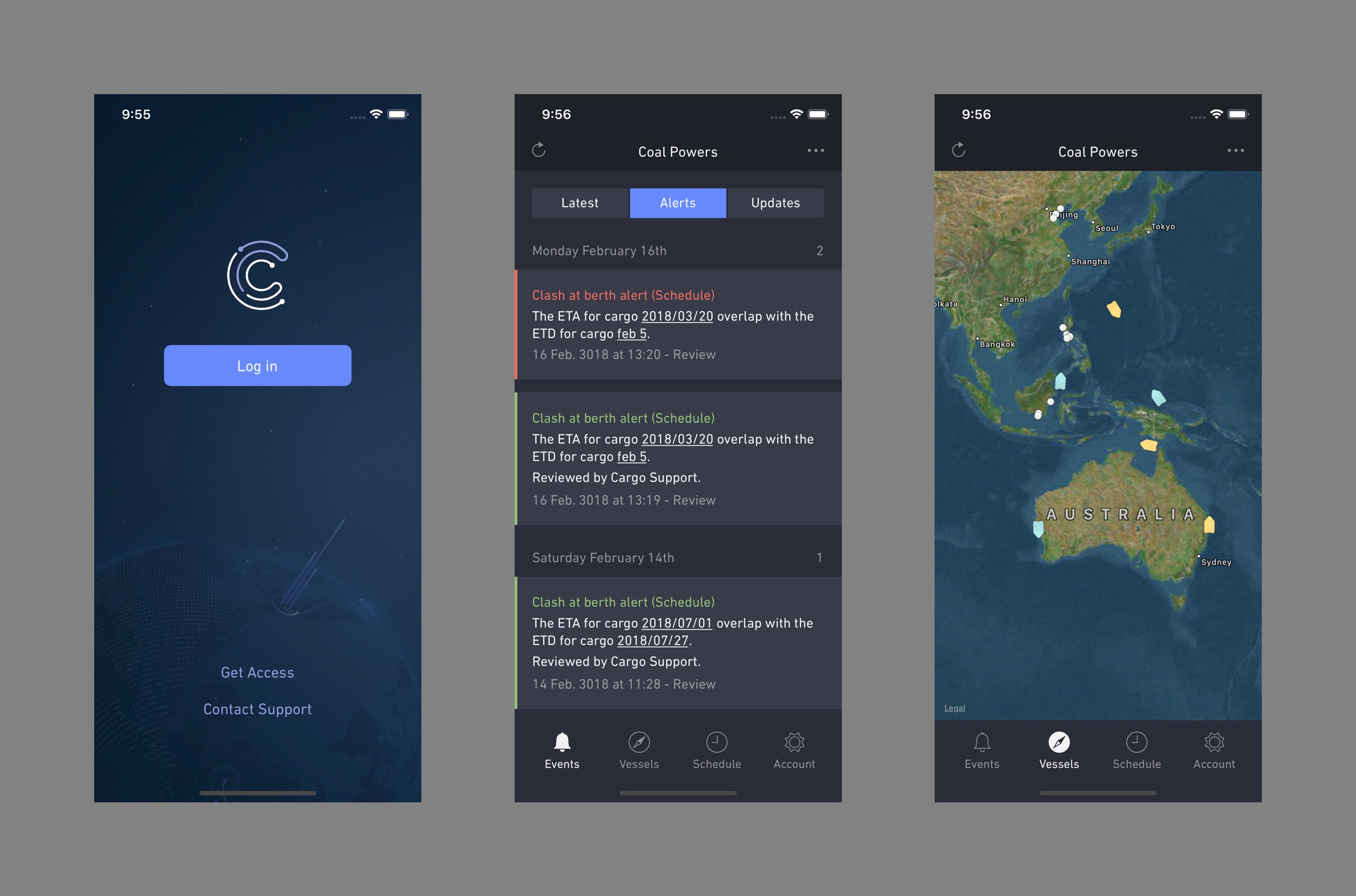 Mobile app screens for logging in, shipment schedule, and a map