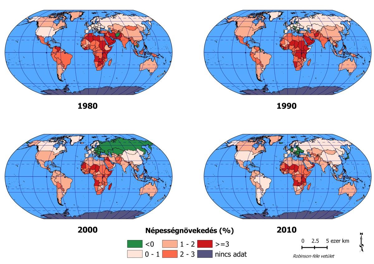 A népességnövekedés üteme a Föld egyes országaiban, 1980-2010 (a Világbank adatai)