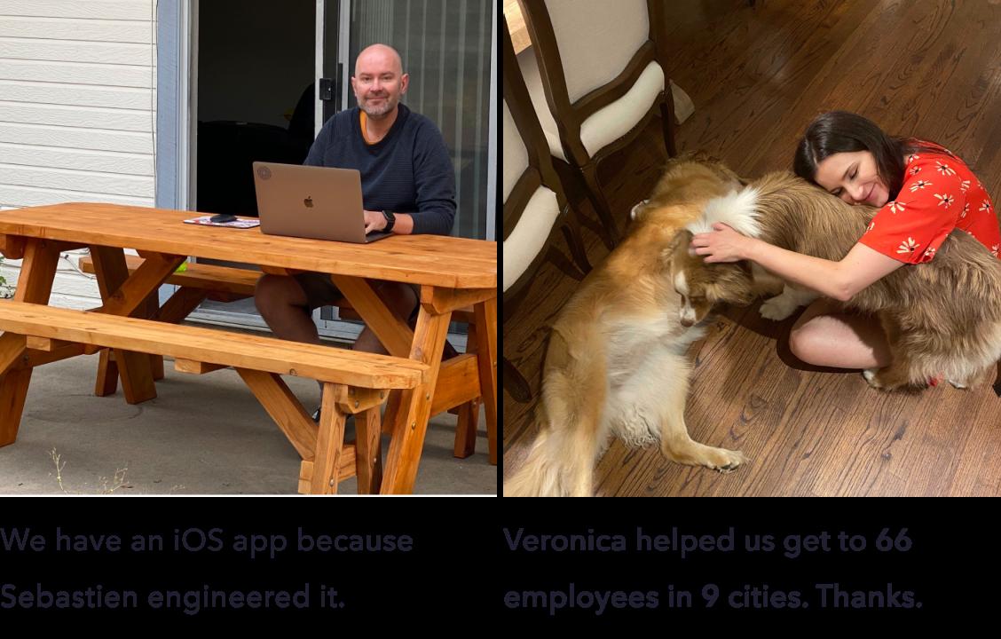 Sebastien, iOS engineer, and Veronica, Head of People
