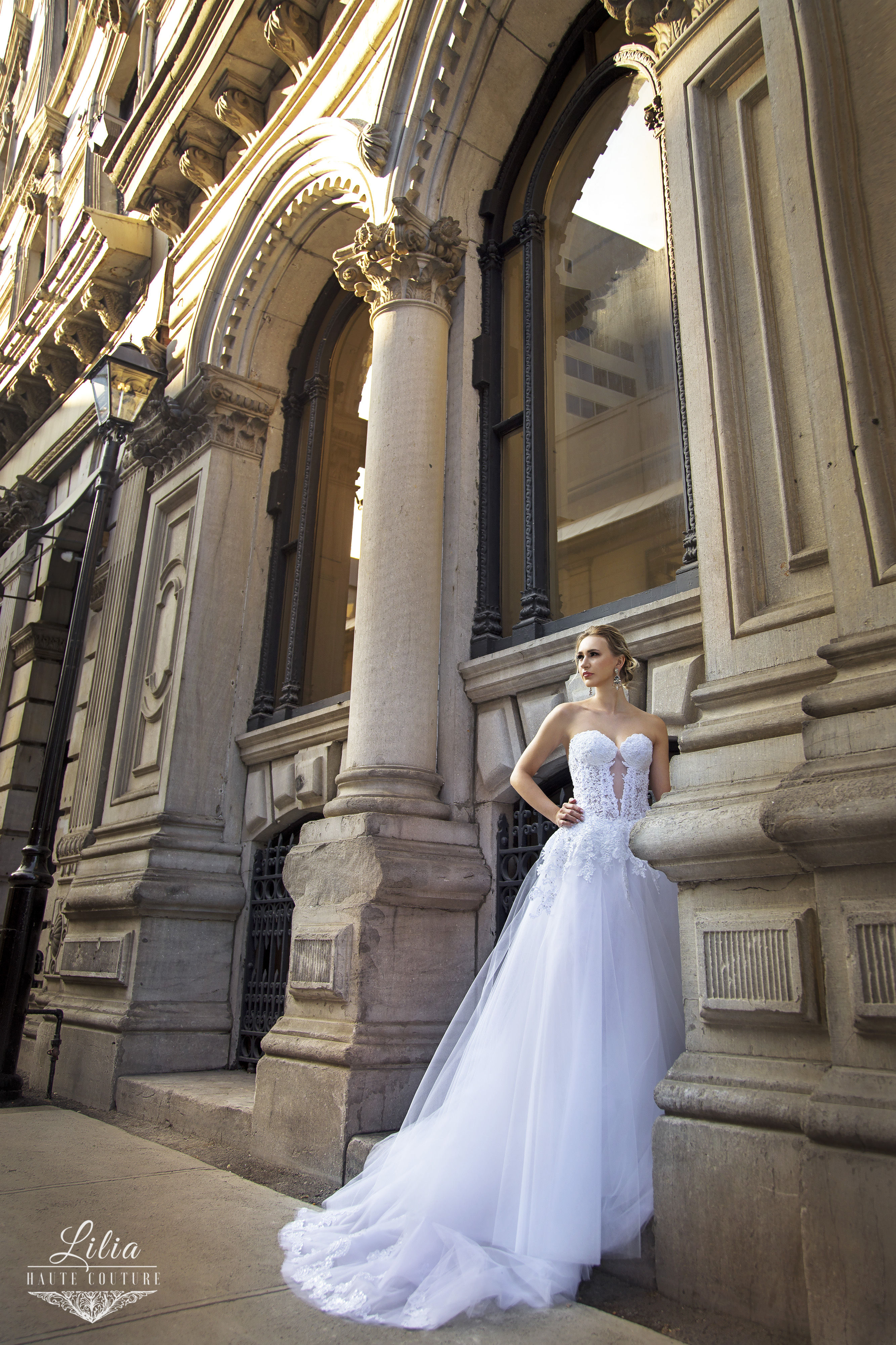 designer wedding dresses montreal lilia haute couture tulle skirt v neck