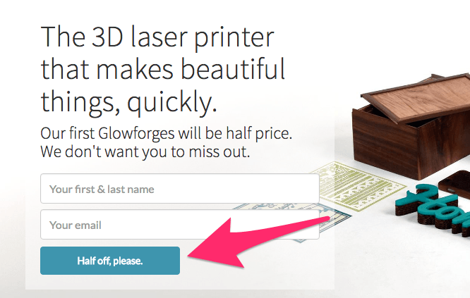 Glowforge half off please cta