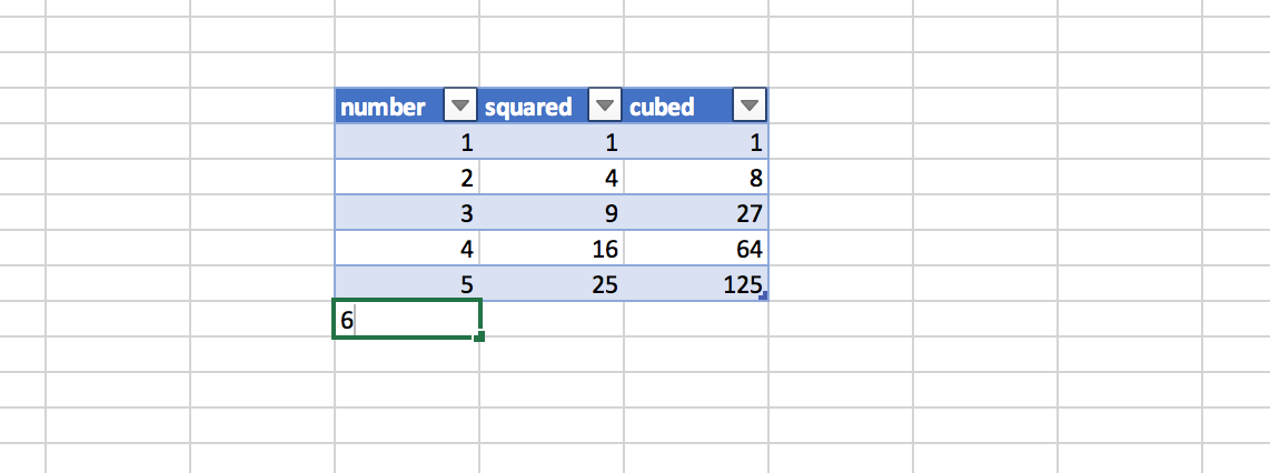 Table autofills in Excel