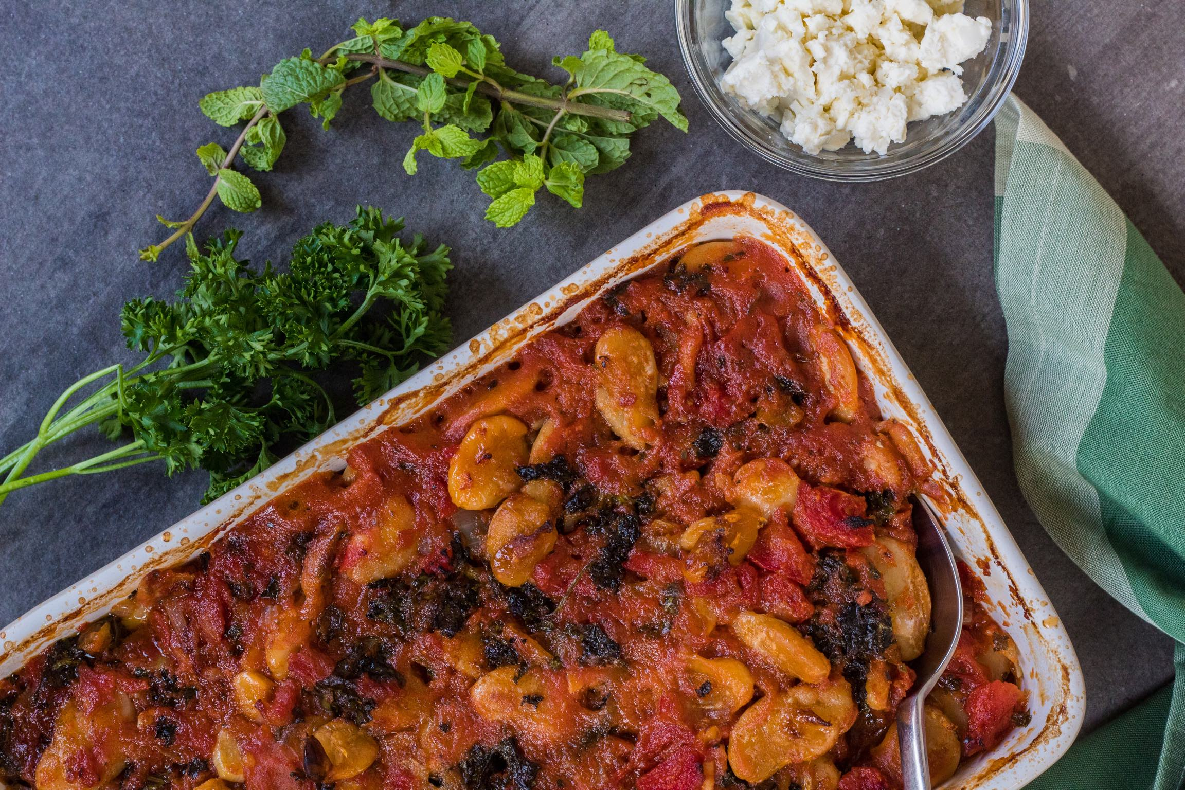 Gigantes Plaki - Greek-style baked large white beans with greens