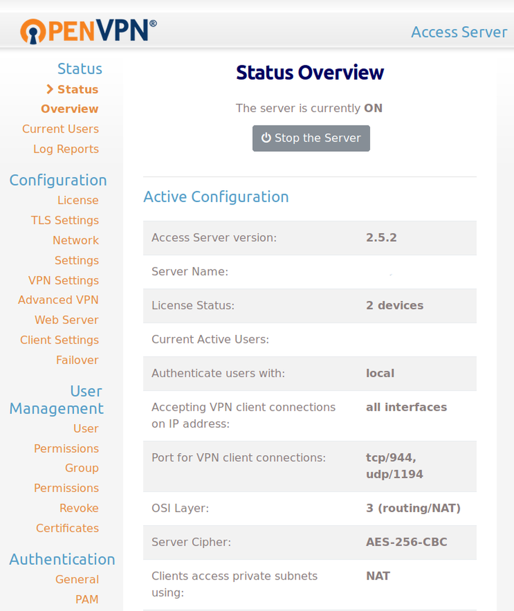 Landing page for OpenVPN admin panel
