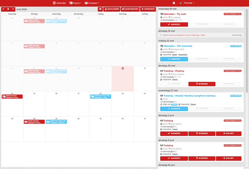 The calender page, displaying the month overview and the event list