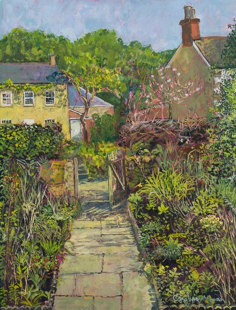 Up the Garden Path gouache painting