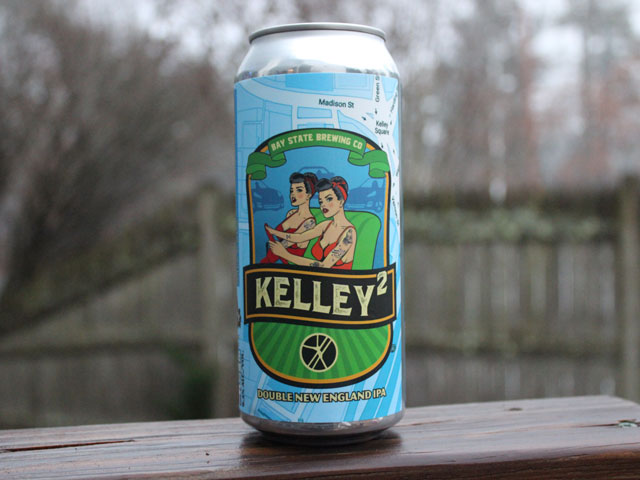 Kelley2, a Double New England IPA brewed by Bay State Brewing Company