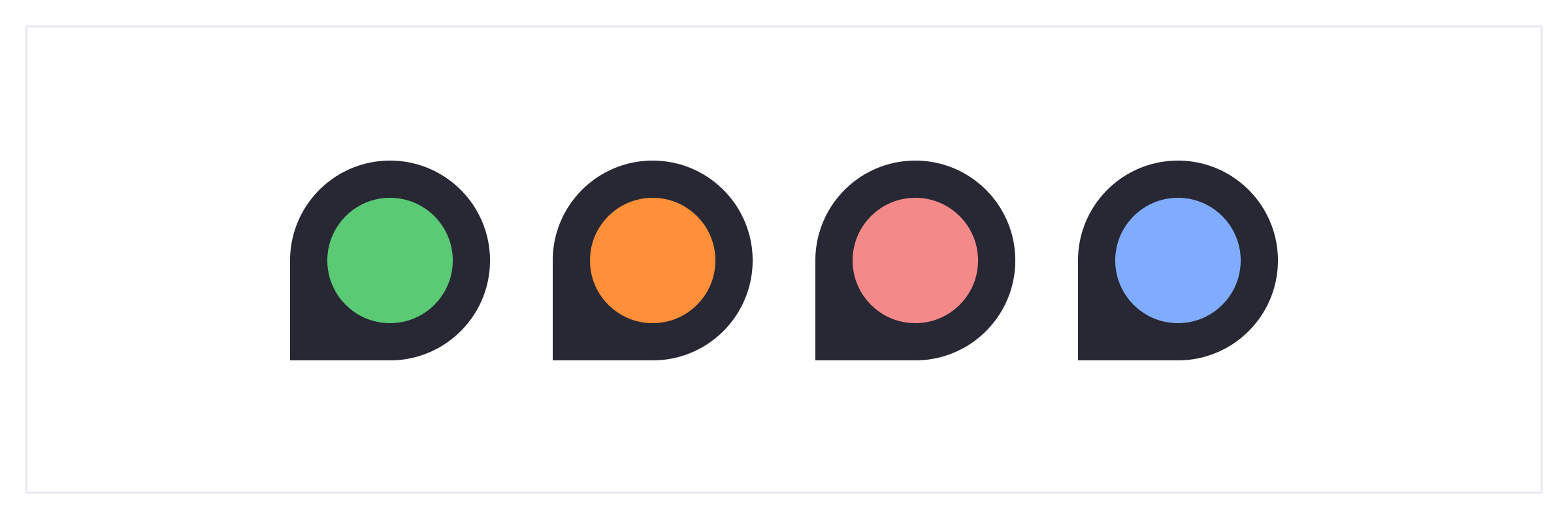 4 shapes with colors inside, used as examples of different color styles