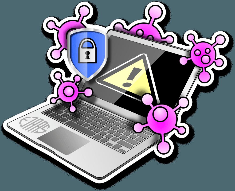 Bærbar computer med sikkerhedsskjold og et skilt med udråbstegn som indikerer virusangreb