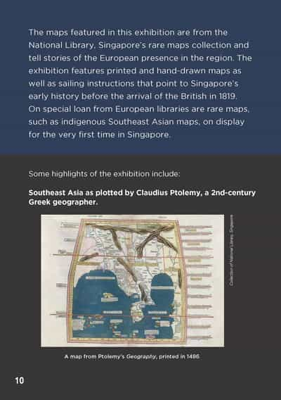 The text mentions that the maps that are on display are from the National Library of Singapore's Rare Collection, along with special loans from European libraries. The map featured on this page is: Southeast Asia as plotted by Claudius Ptolemy, a 2nd-century Greek geographer.
