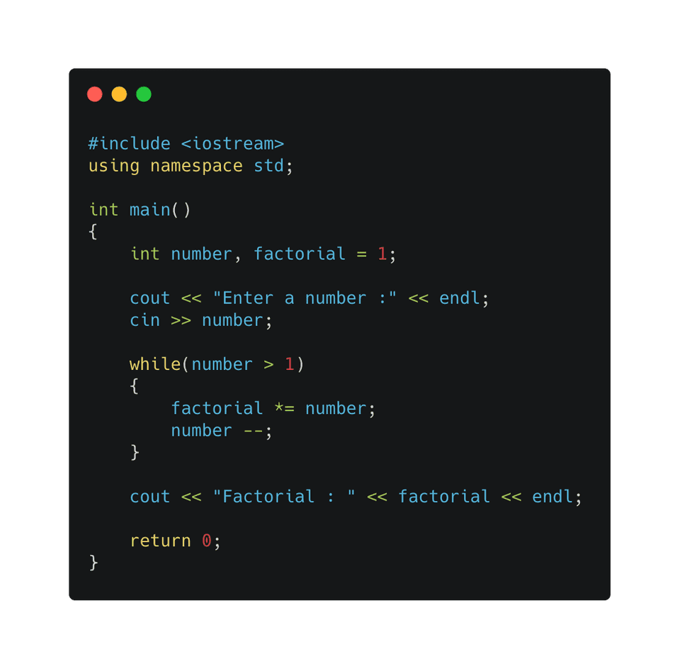 C++ factorial using while loop