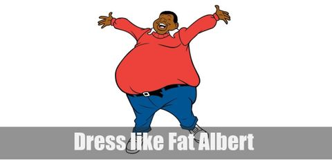 Fat Albert is known for being wise and civic-minded. He's clothing choice perfectly reflects his more intellectual side. He usually wears a white collared undershirt, a red sweater, denim pants held in place with a black belt, and red sneakers.