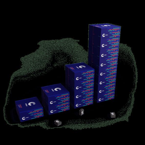 Pilhas de caixas com os dispositivos OBD