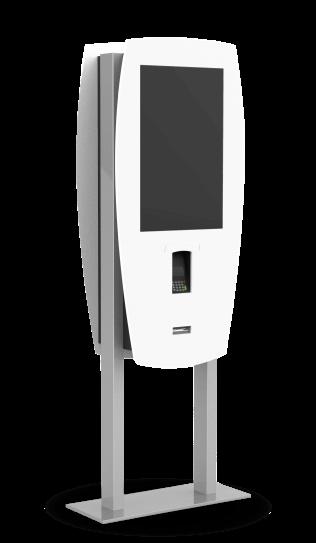 White self-serving ordering kiosk.