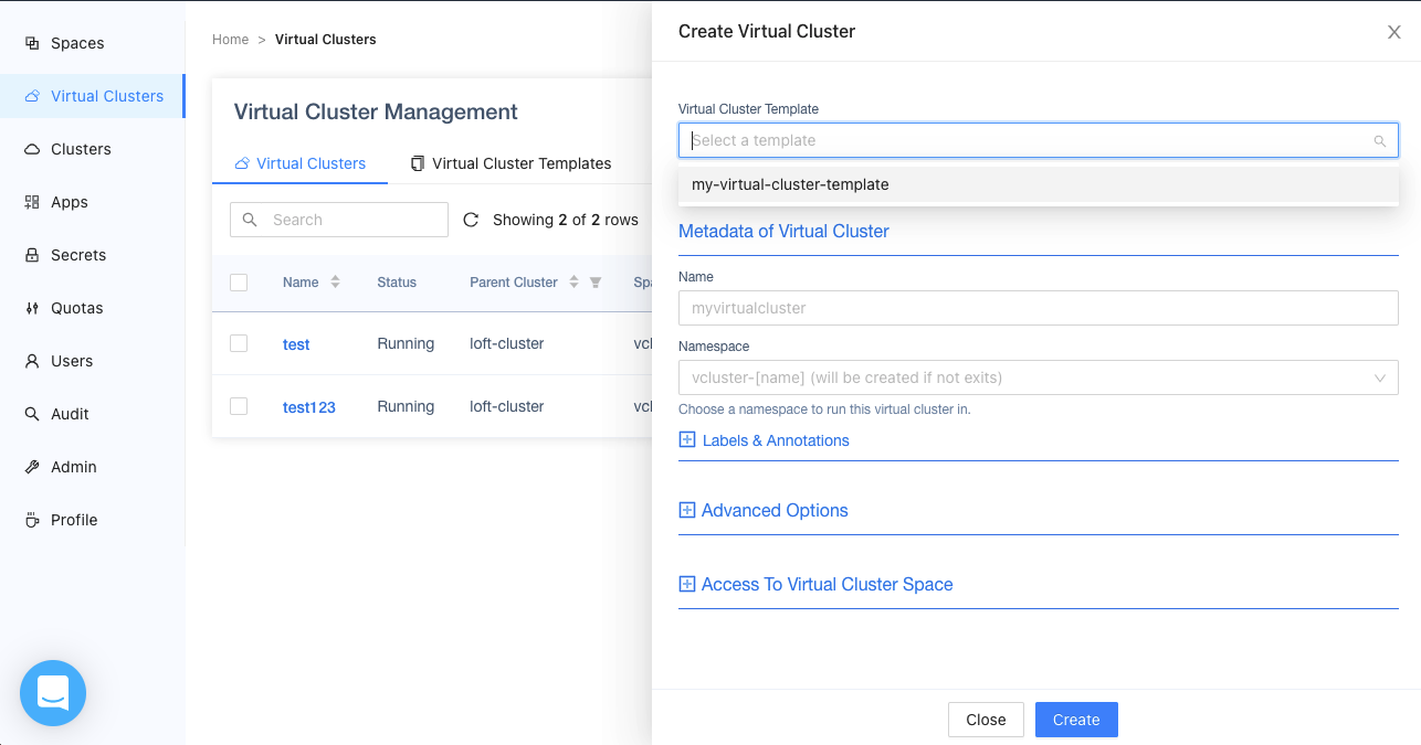 loft Virtual Cluster Templates