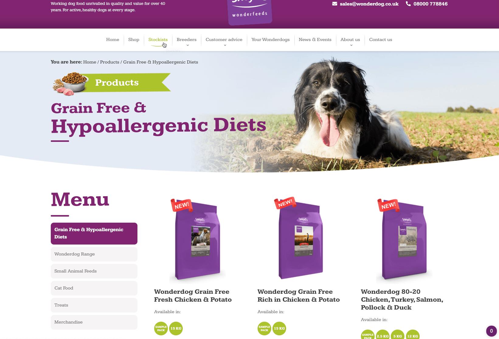 Screenshot of the Sneyds Wonderdog website