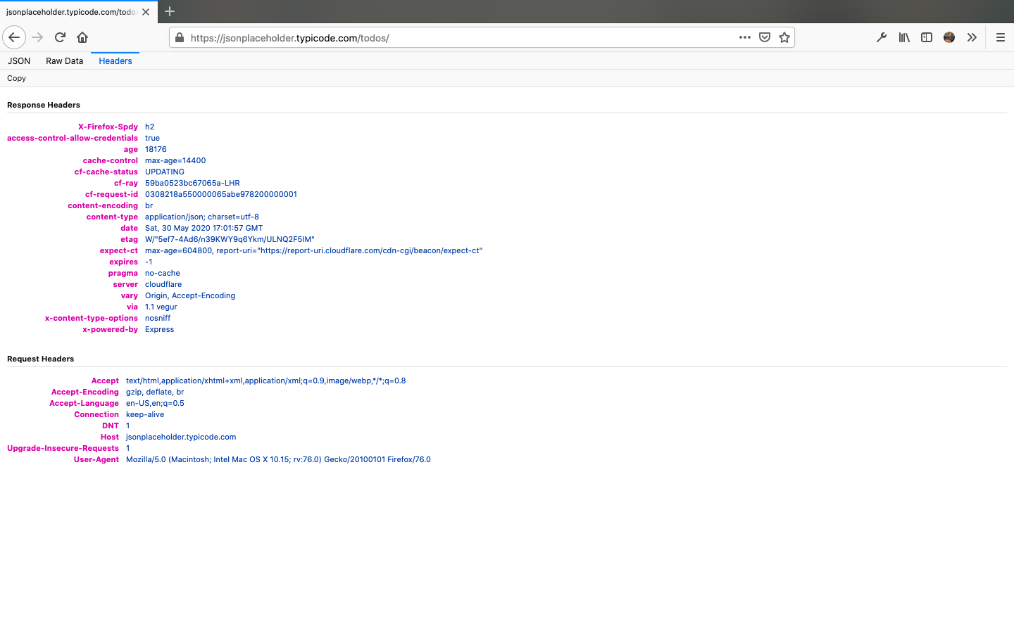 The Headers tab in Firefox's JSON viwer