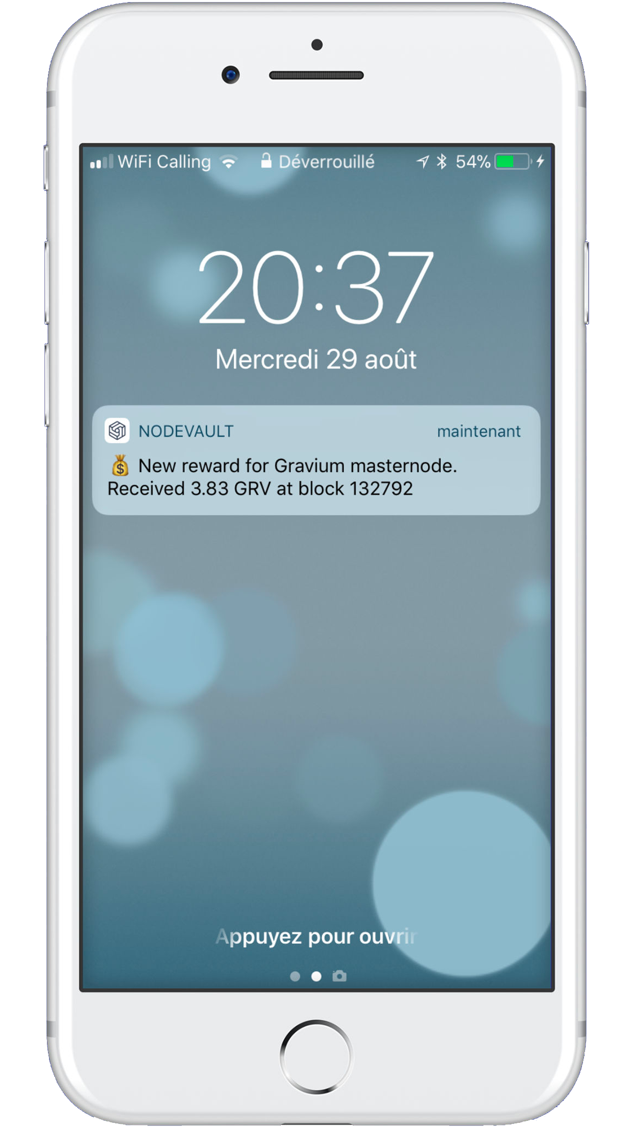 Push notification example on the NodeVault app