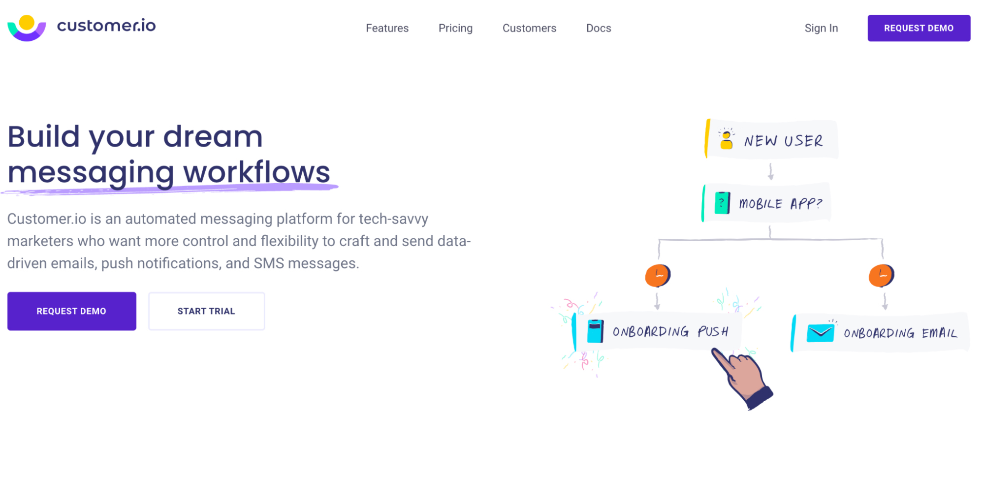 User Onboarding Software: Customer.io screenshot