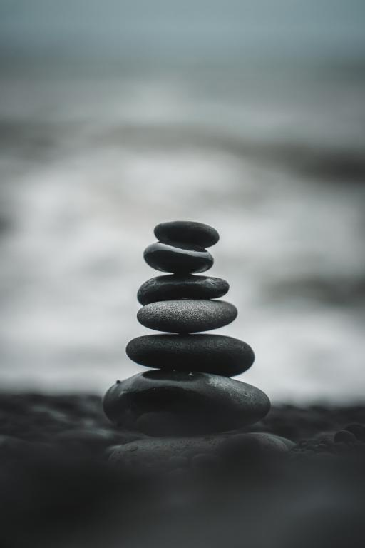 Stack of rocks balanced