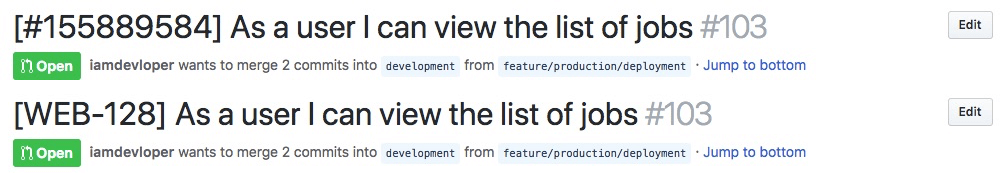Depending on the issue tracker you use, the user story ID might differ. Above: a user story ID from [Pivotal Tracker](https://www.pivotaltracker.com/). Bottom: a user story ID from [JIRA](https://www.atlassian.com/software/jira).