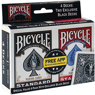 A pack of Bicycle Playing Cards for playing drinking games with