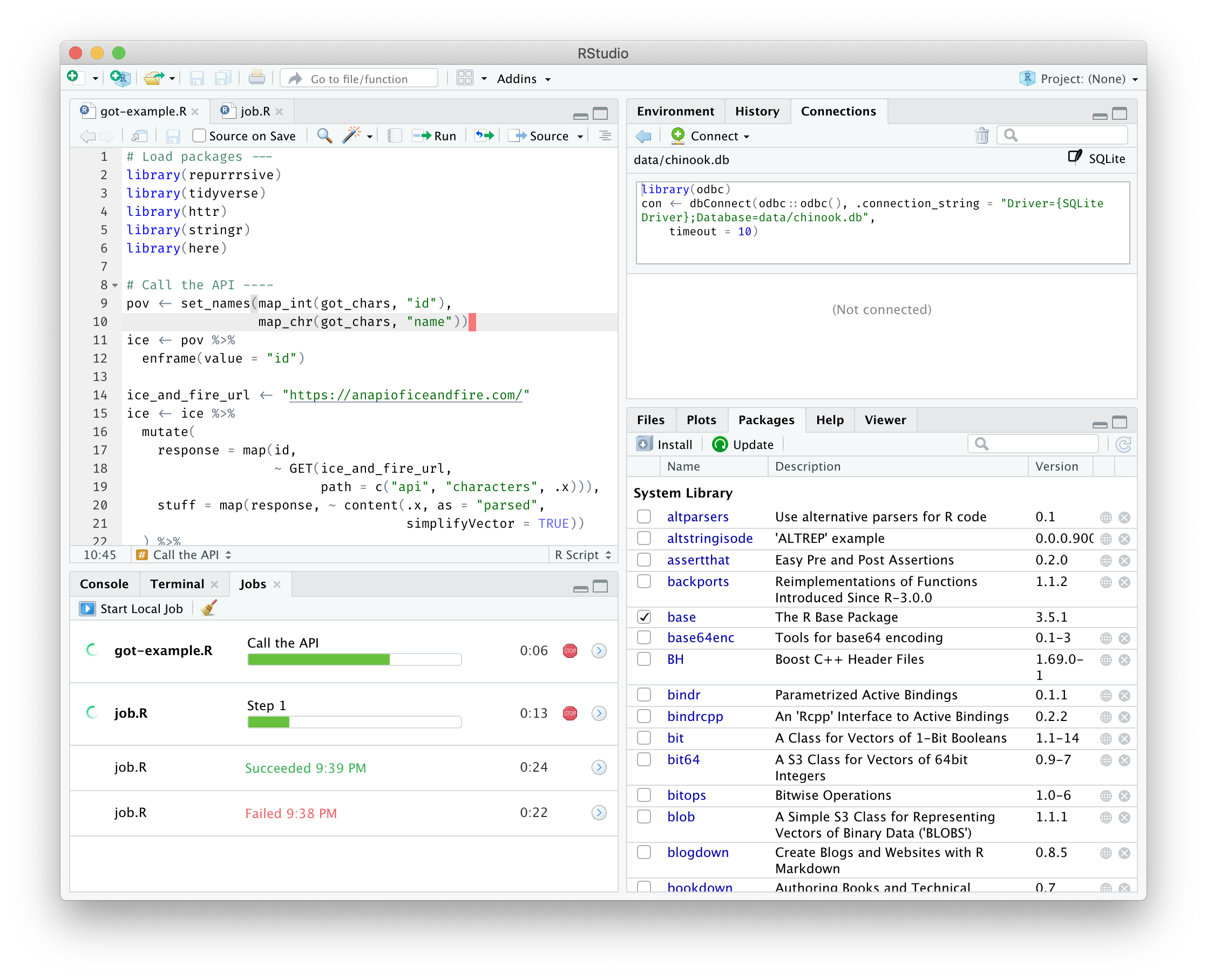Screenshot of running jobs in RStudio