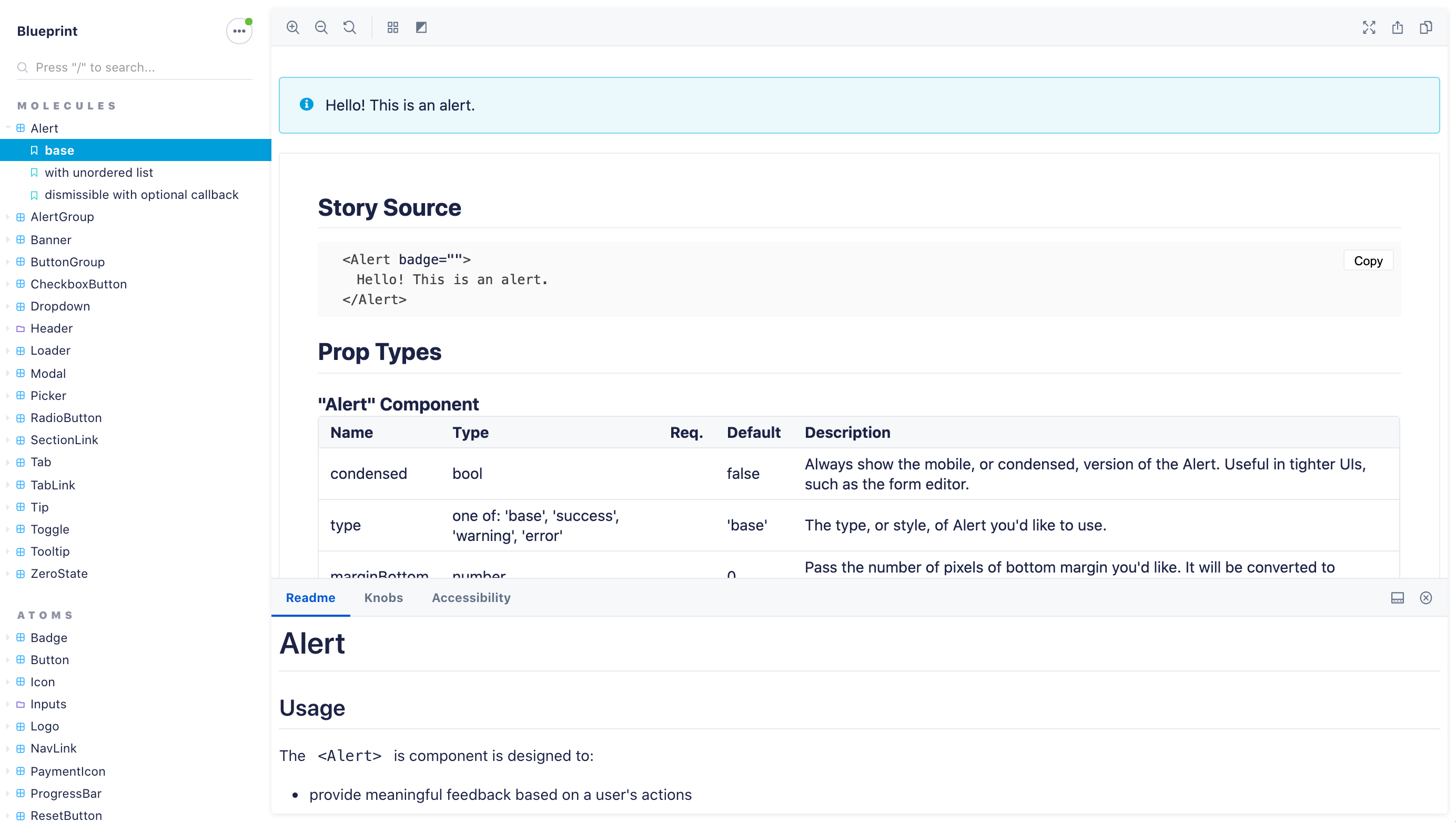 a screenshot of Storybook, featuring the Alert component