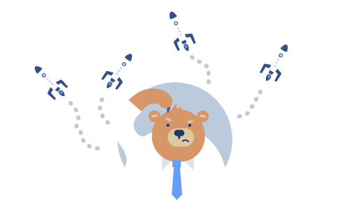 Scientist Bear Studying Emails