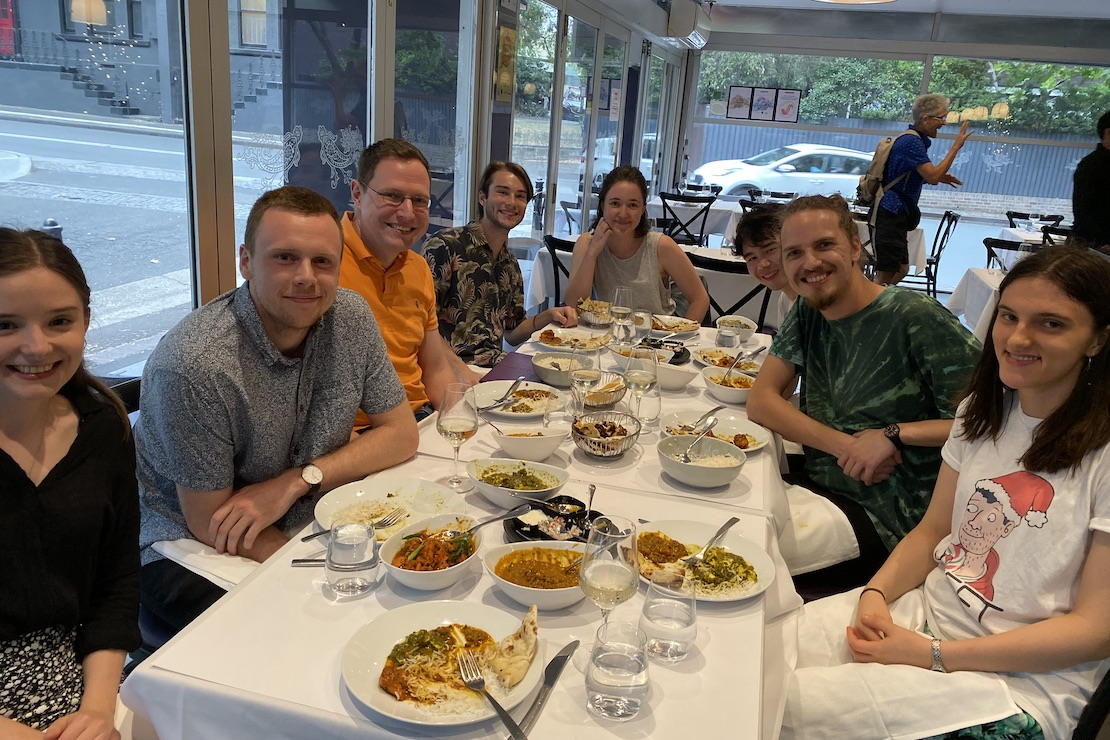 Group dinner (2019): Ally, Daniel, Ivan, Owen, Clare, Jacob, Stefano, Maggie