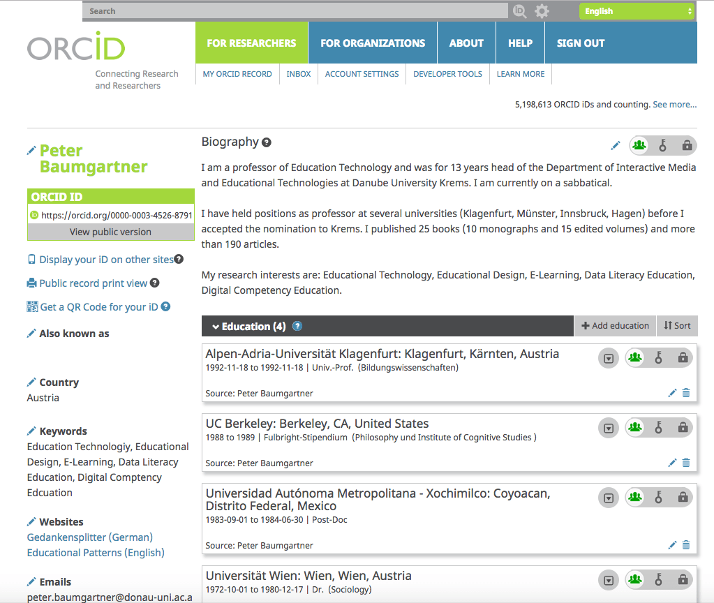 Screenshot of my the upper part of my ORCID page