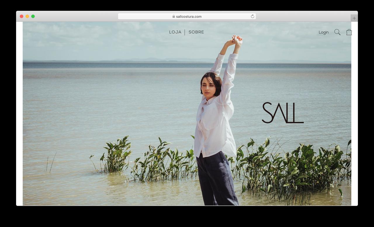 Captura de tela do site da SALL Costura