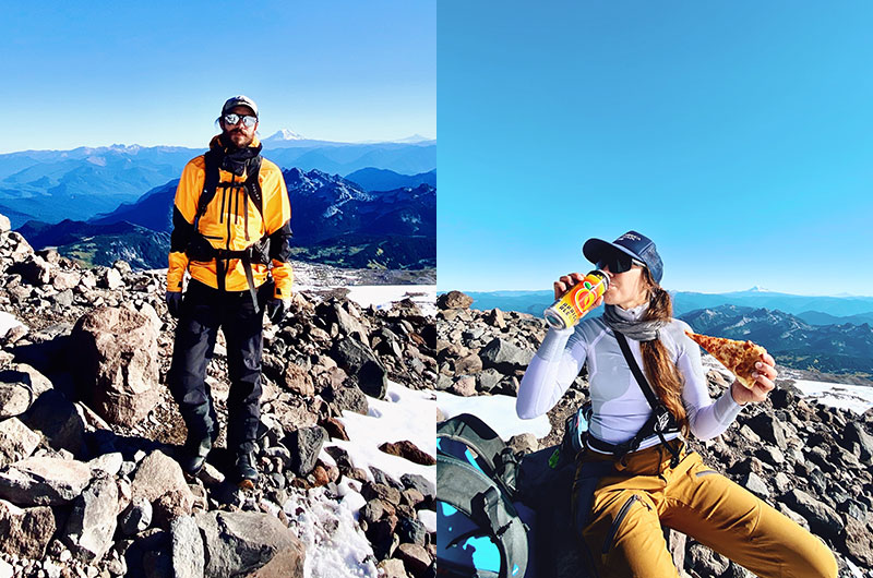 (Left) Viewpoint on Mt. Rainier. (Right) Enjoying Pyramid Apricot Ale as summit beer on mountain.