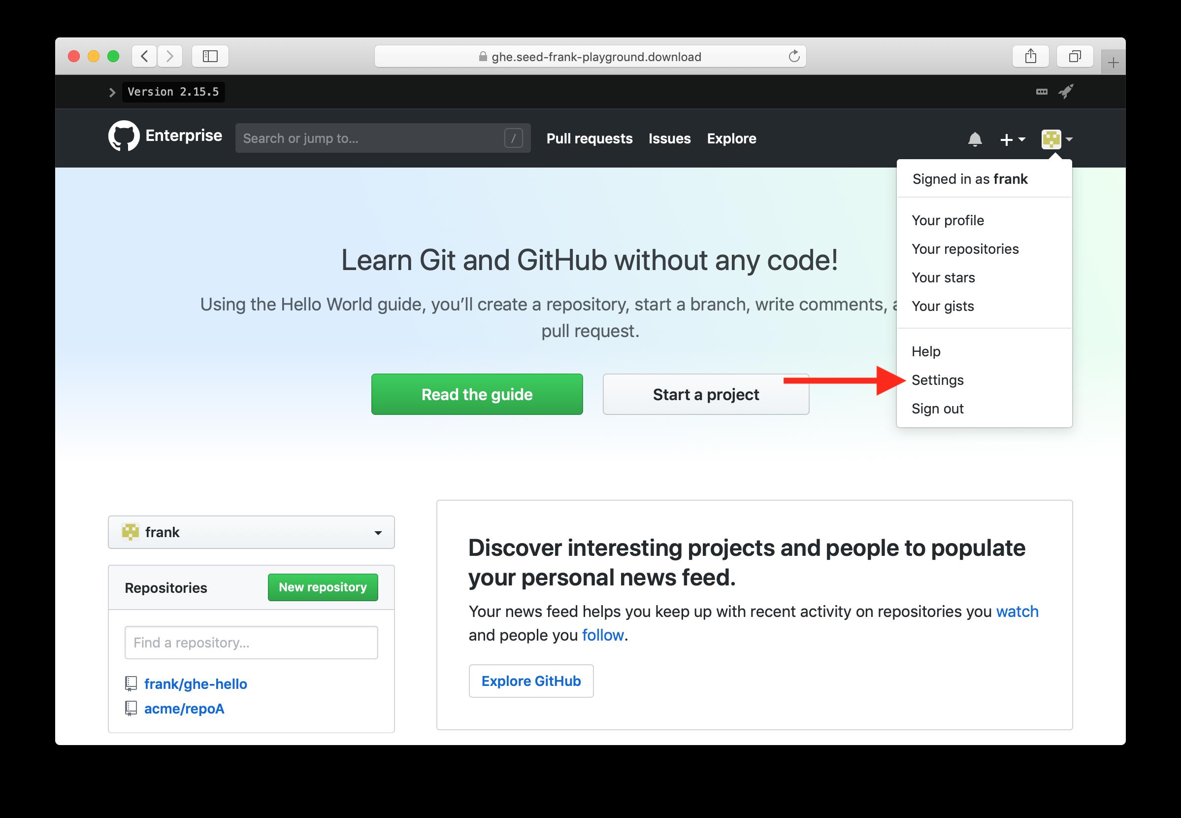 Click GitHub Enterprise settings
