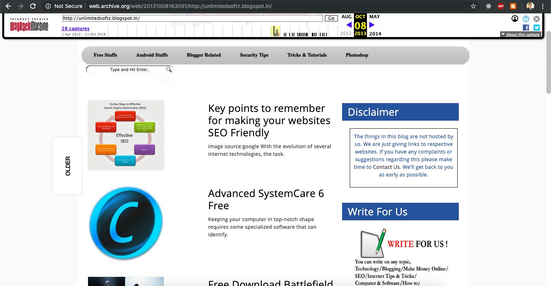 Blogspot website web archive