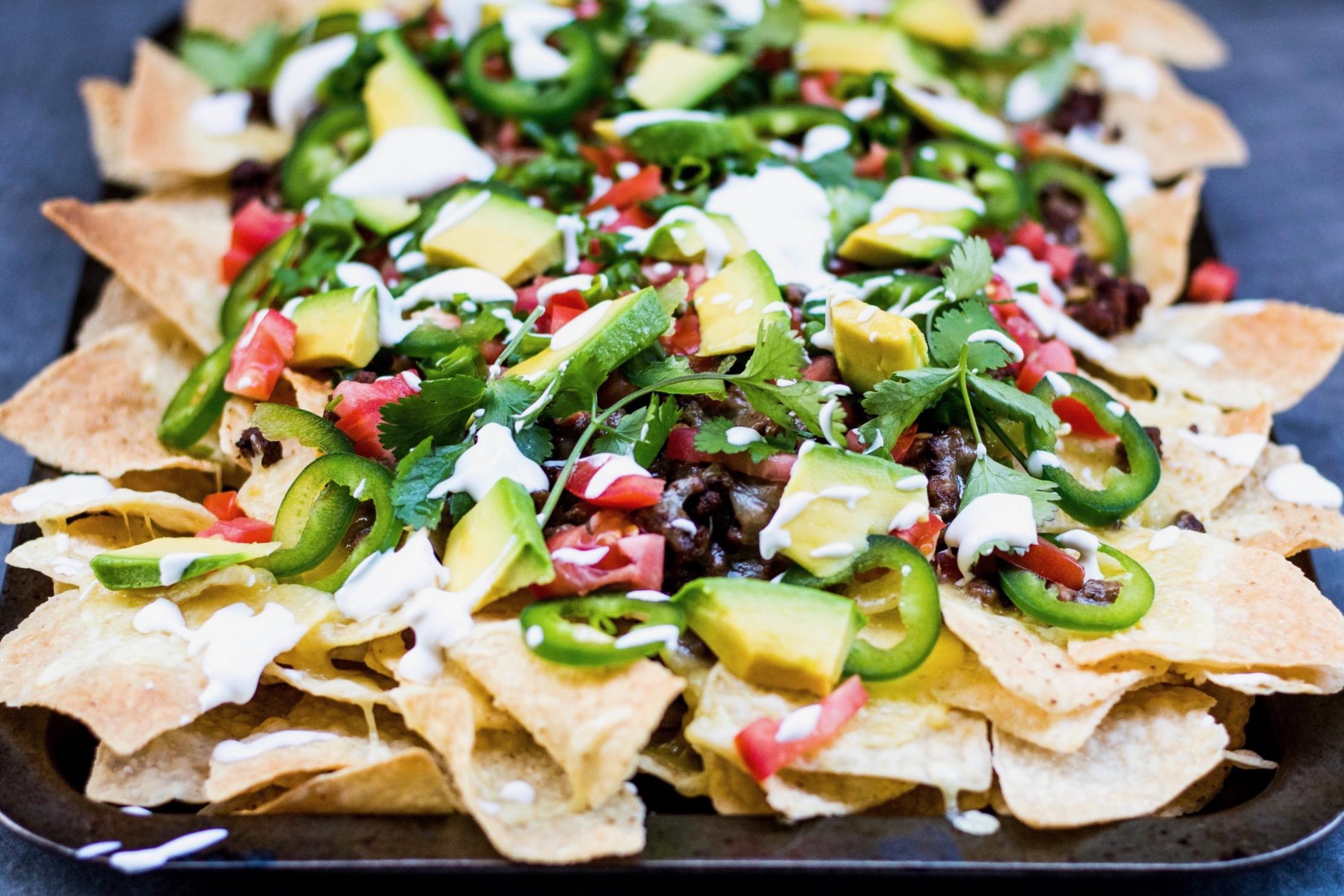 Nachos supreme sheet pan loaded nachos