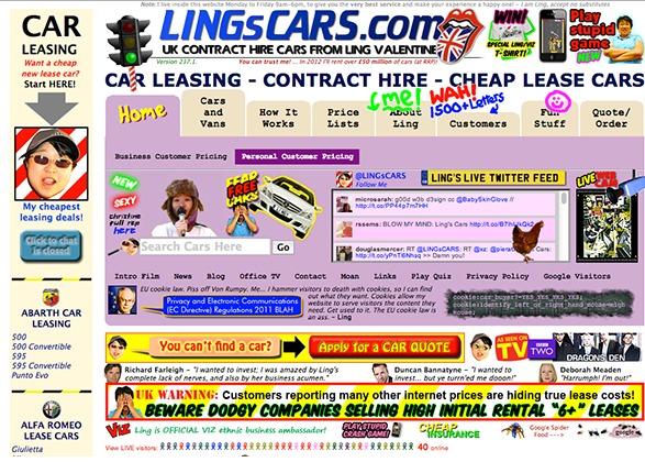Page d'accueil d'un site qui loue des voitures. Il ya beaucoup de couleurs, des photos dans tous les sens, des flèches qui pointent dans toutes les directions. Bref, la page est illisible.