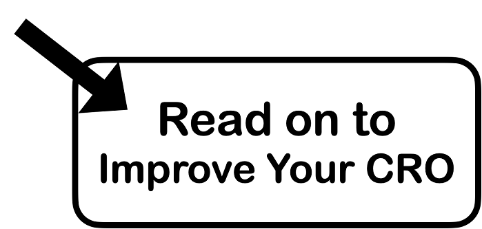 A black arrow pointing to the rectangular text box showing read on to improve your CRO.