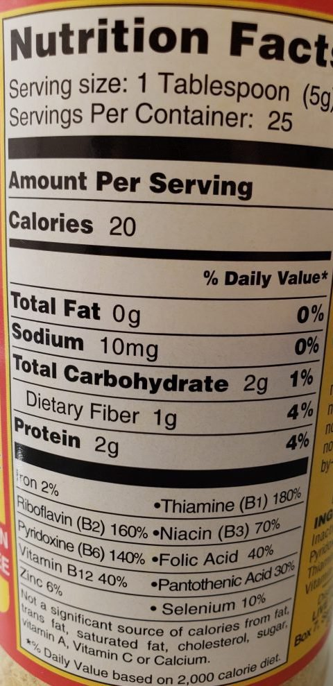 Nutritional yeast label with nutrional facts