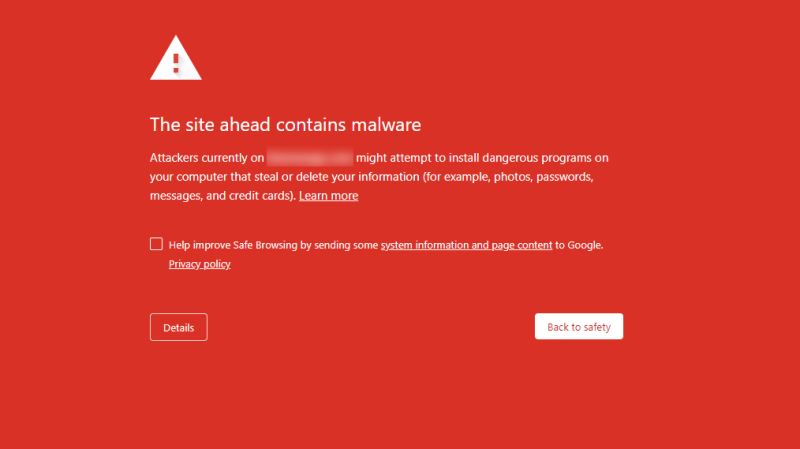 Screenshot of Chrome malware alert